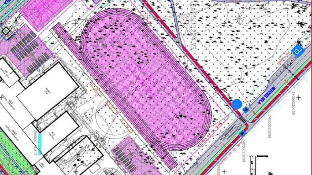 Ikšķiles pašvaldības iedomātais stadions, kas paredz parka koku izciršanu.