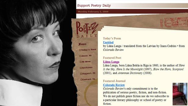 Liāna Langa. Foto: J.Deinats + ekrānšāviņš no poems.com