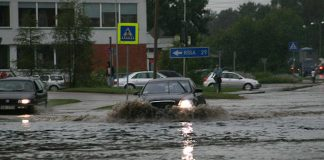 Plūdi Ikškiles centrā.