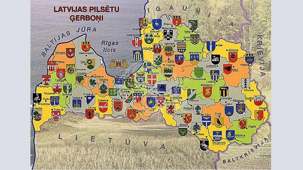 Plakāts: Latvijas pilsētu ģerboņi. Zvaigzne ABC