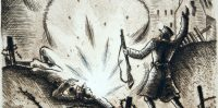 """Niklāvs Strunke """"Cīņa Daugavmalā"""" (no cikla """"Bermontiāde"""")"""