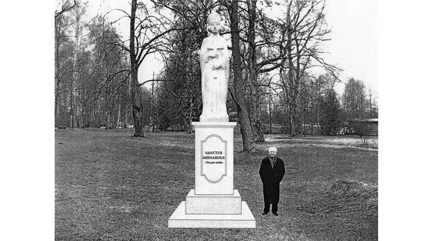Skice: Bojārs (Ogres katoļu draudzes priesteris), pie Sv. Meinarda statujas.