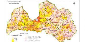 Latvijas karte ar kadastra vērtībām. Kartei ilustratīva nozīme.