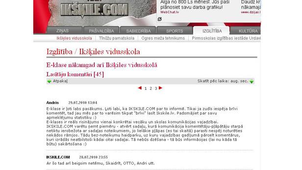 Ikskile.com ekranšāviņš.