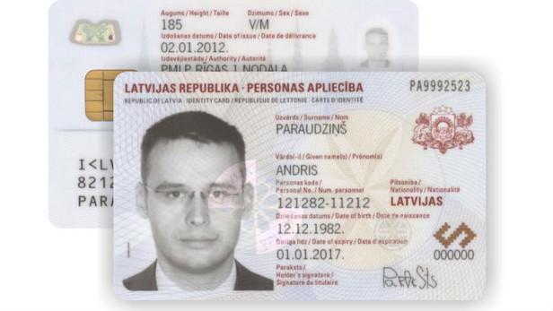Personas identifikācijas kartes paraugs.