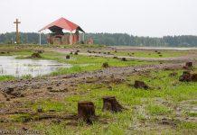 Kad Daugavā pazemināts ūdens līmenis, skats uz Sv. Meinarda baznīcas drupām.