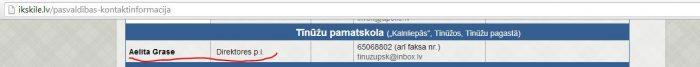 Tīnūžū pamatskolas kontaktinformācija kas publicēta Ikskile.lv