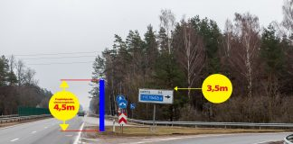 A6 Riga-Daugavpils autoceļš nobrauktuve Ikšķile, projektētās sienas augstuma ilustrācija.