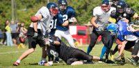 Spēle starp Riga Lions un Igaunijas komandu Tartu Titans un Tallin Storm apvienoto komandu. Foto: Edgars Leonovs