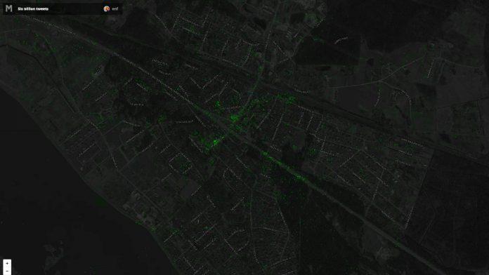 Ekrānšāviņš ar Ikšķiles tweets, kas ir daļa no 6,3 miljoniem tvītu. Karte: Eric Fisher