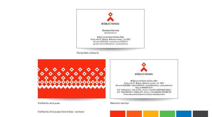 Lietvedība vizītkartes. Pat lieli uzņēmumi nedrukā divpusējas krāsainās vizītkartes. Attēls: Ikšķiles Pašvaldības jaunās identitātes stila grāmatas ekrānšāviņš