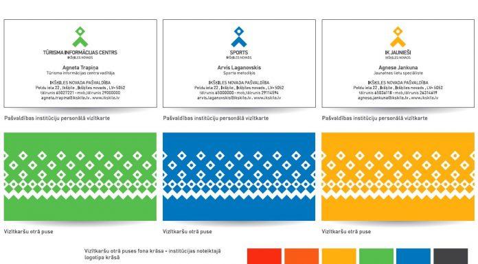 Lietvedība vizītkartes un rekvizītu kartiņas. Divpusējas krāsainās vizītkartes 5 dažādās krāsas. Attēls: Ikšķiles Pašvaldības jaunās identitātes stila grāmatas ekrānšāviņš