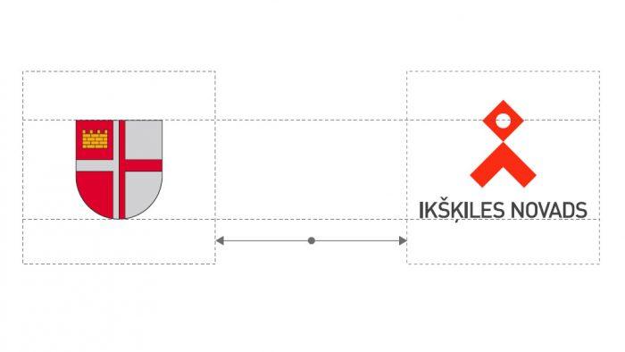 Attēls ar Ikšķiles ģerboni un jauno logo