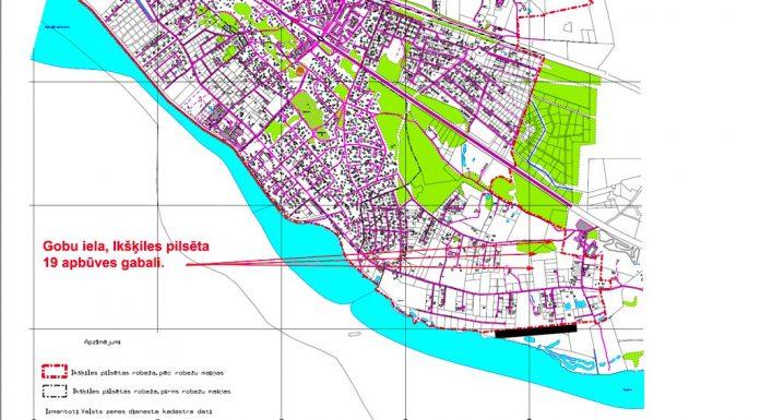 Pilsētas teritorijas kartes fragments ar Gobu ielas 19 apbūves gabalu atrašanās vietu.