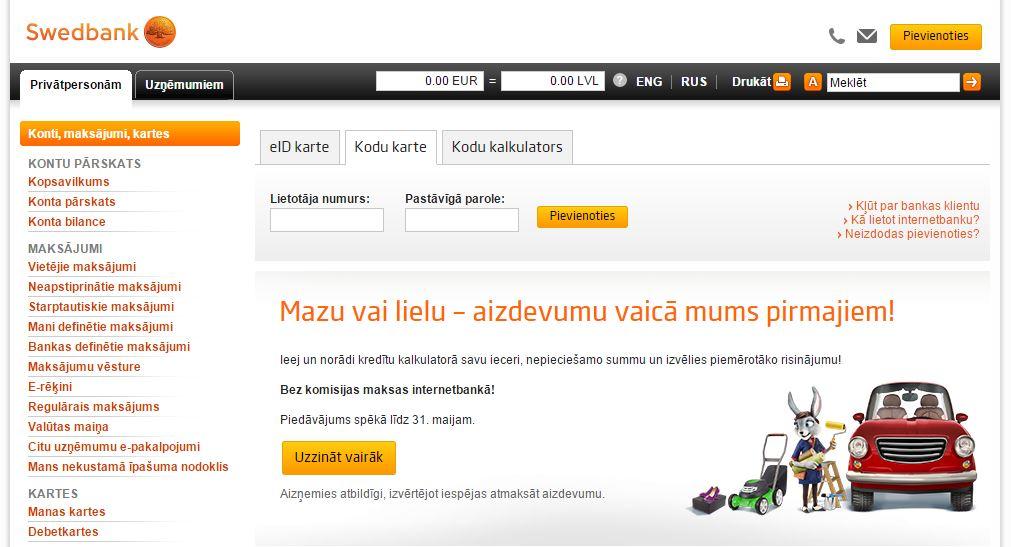 Attēlam ilustratīva nozīme. Swedbank.lv internetbankas ekrānšaviņš.