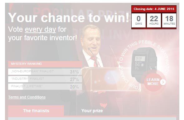 Ekrānšāviņš no balsošanas tabulas epo.org