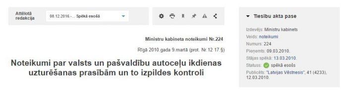 Ministru kabineta noteikumi Nr.224