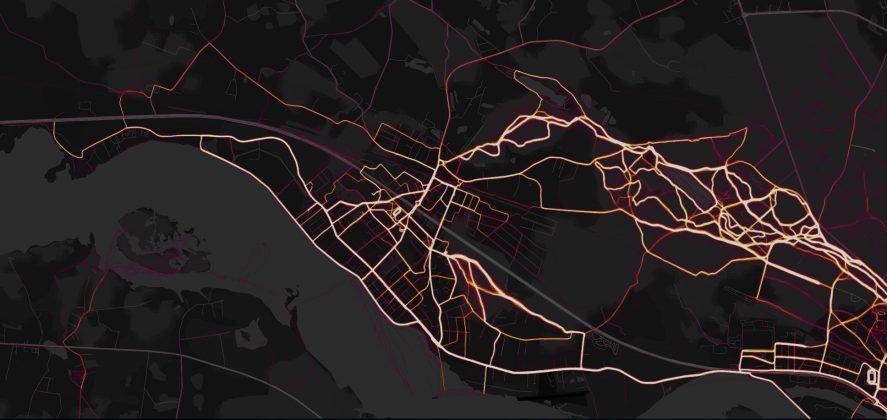 Skriešanas sportiskas aktivitātes Ekrāršāviņš Strava Heat map Ikšķile