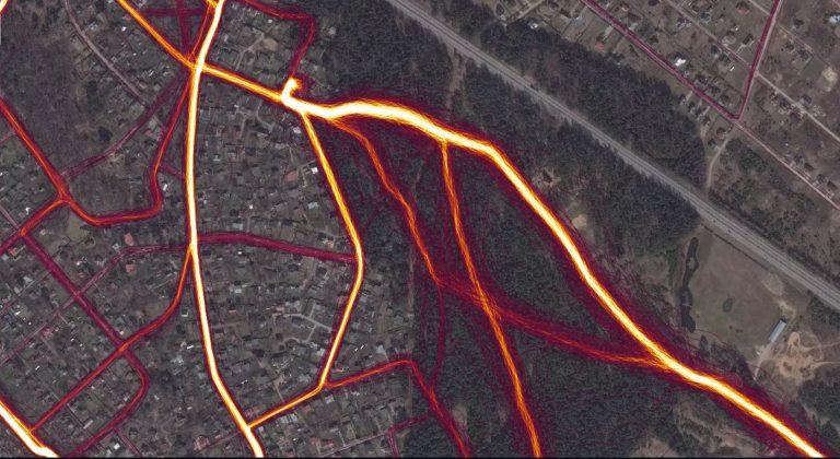 Skriešanas sportiskās aktivitātes Lībiešu parks, Ikšķile. Ekrānšāviņš: Strava Heat map Ikšķile, Lībiešu parks
