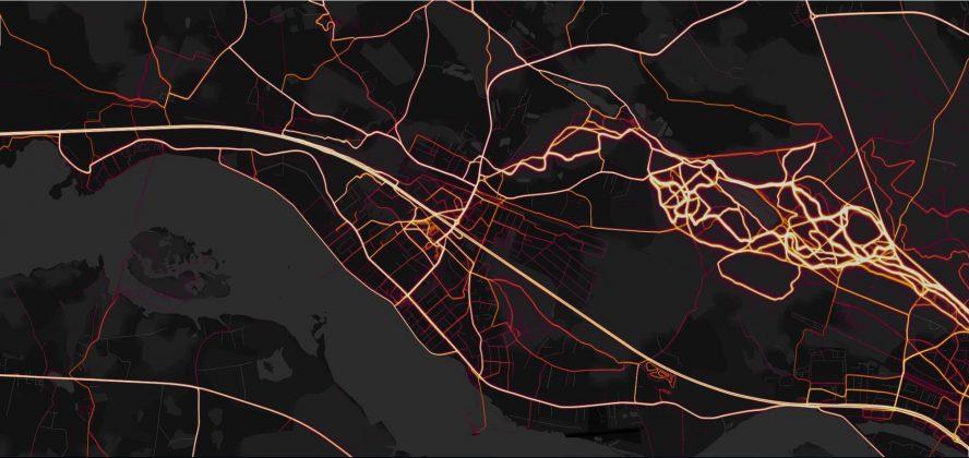 Velo aktivitātes, Ikšķiles novads. Ekrānšāviņš Strava Heat map Ikšķiles novads
