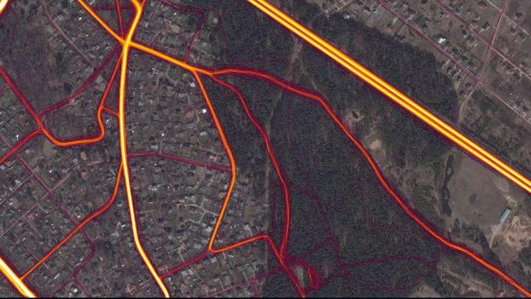 Velo sportiskās aktivitātes Lībiešu parks, Ikšķile, Lībiešu parks. Ekrānšāviņš : Strava Heat map Ikšķile, Lībiešu parks