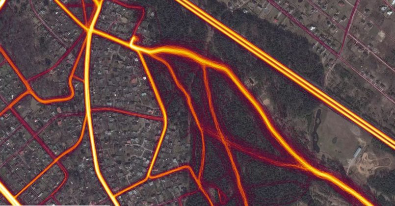 Visas sportiskās aktivitātes Lībiešu parkā. Ekrānšāviņš: Strava Heat map Ikšķile, Lībīešu parks