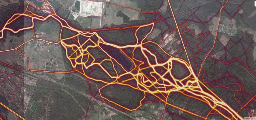 Visas sportiskās aktivitātes, Ikšķiles novads, Zilo kalnu parks Ekrānšāviņš: Strava Heat map Ikšķile, Zilo kalnu parks.