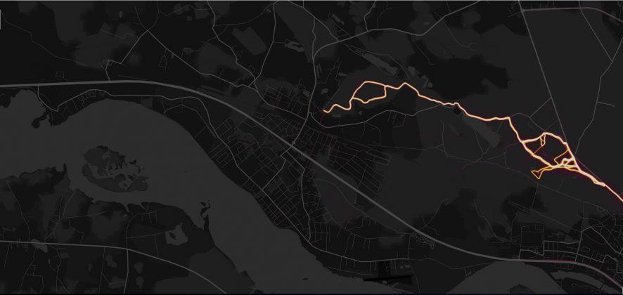 Ziemas aktivitātes, Ikšķiles novads. Ekrāršāviņš: Strava Heat map Ikšķiles novads.