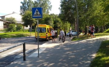 Satiksmes negadījums Ikšķilē, Peldu un Libiešu ielas krustojums pie Ikšķiles estrādes. Foto: Ikšķilietis