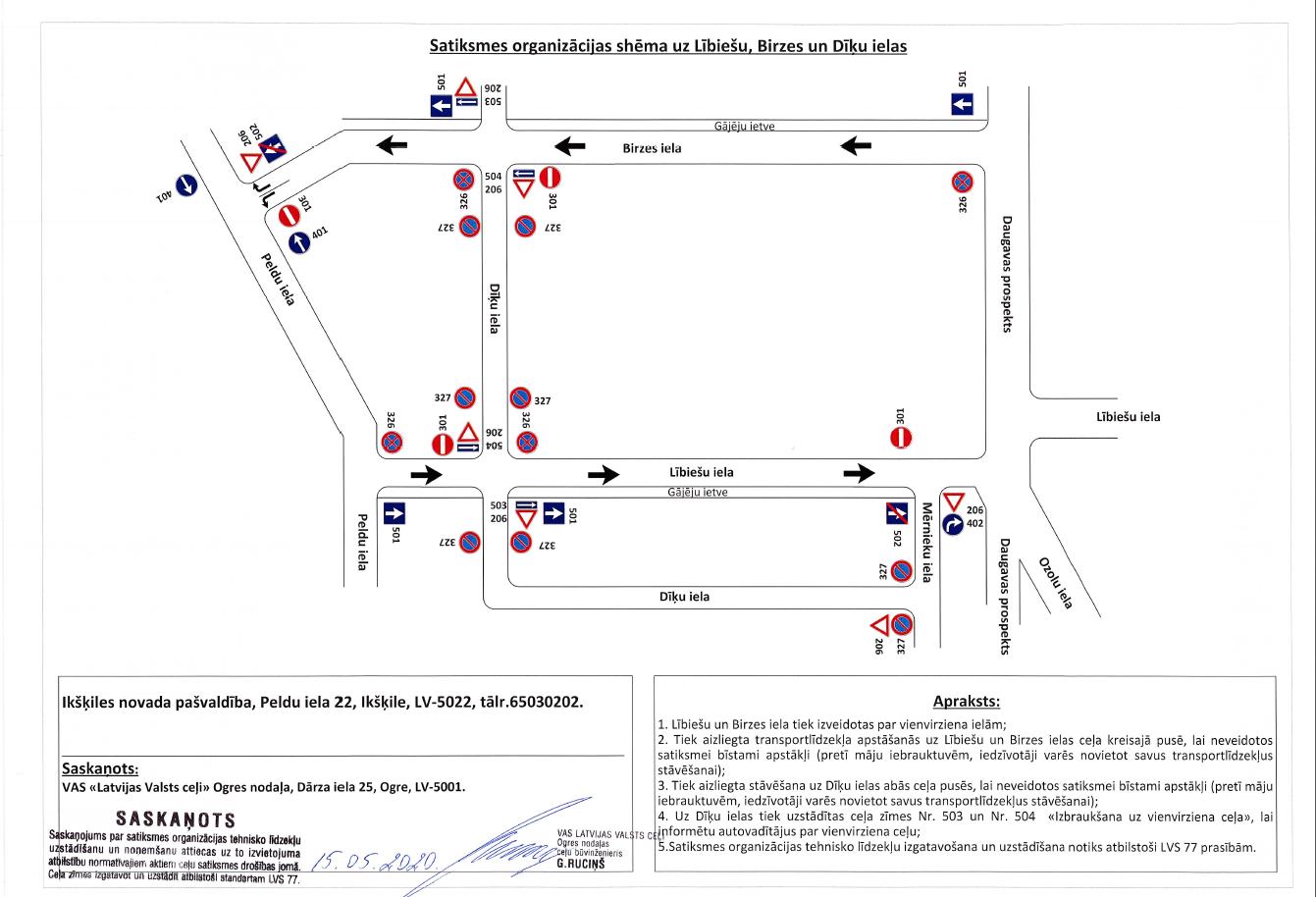 Izmaiņas satiksmes virzienos Ikšķilē, 2020. Birzes iela, Lībiešu iela, Dīķu iela.